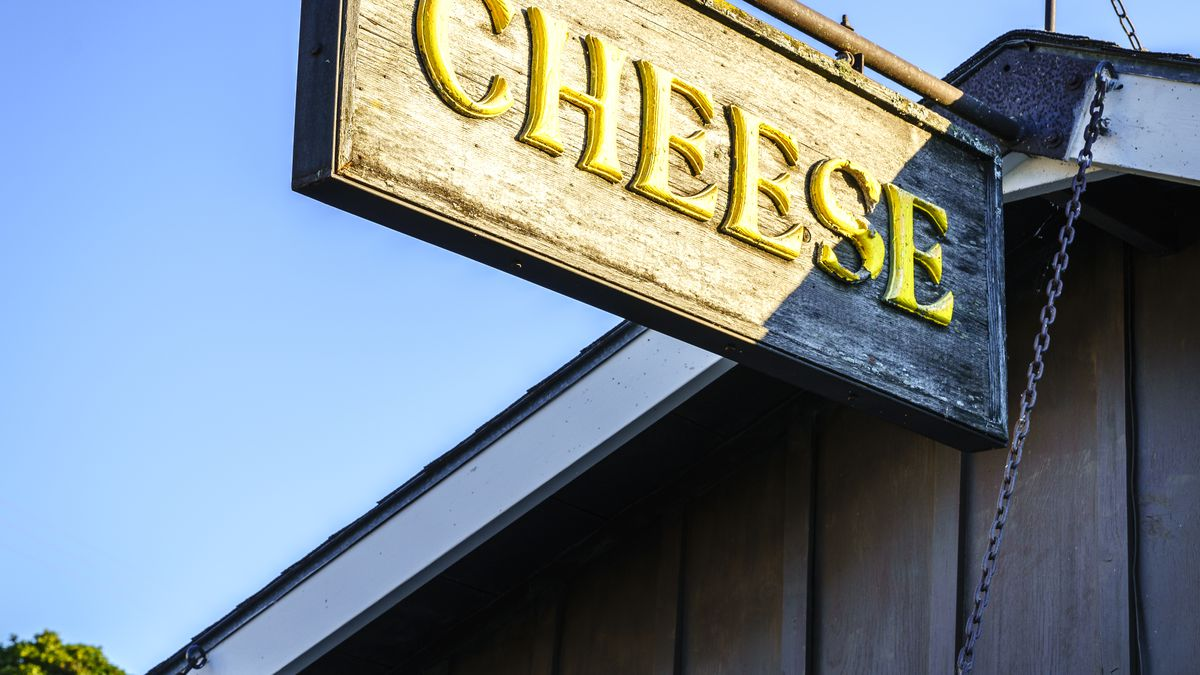 Cheese shop sign reads cheese and sandwiches all day.