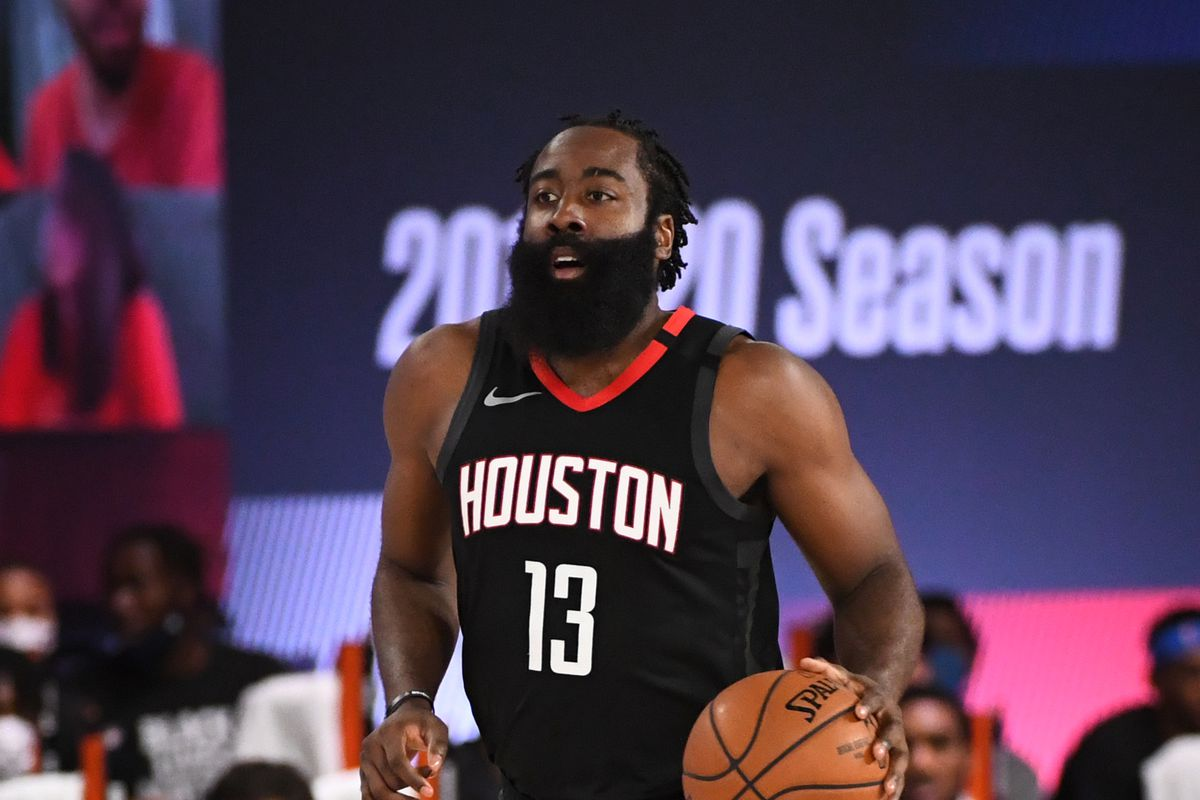 James Harden of the Houston Rockets dribbles the ball up court during Round One, Game One of the NBA Playoffs on August 18, 2020 at The Field House in Orlando, Florida.