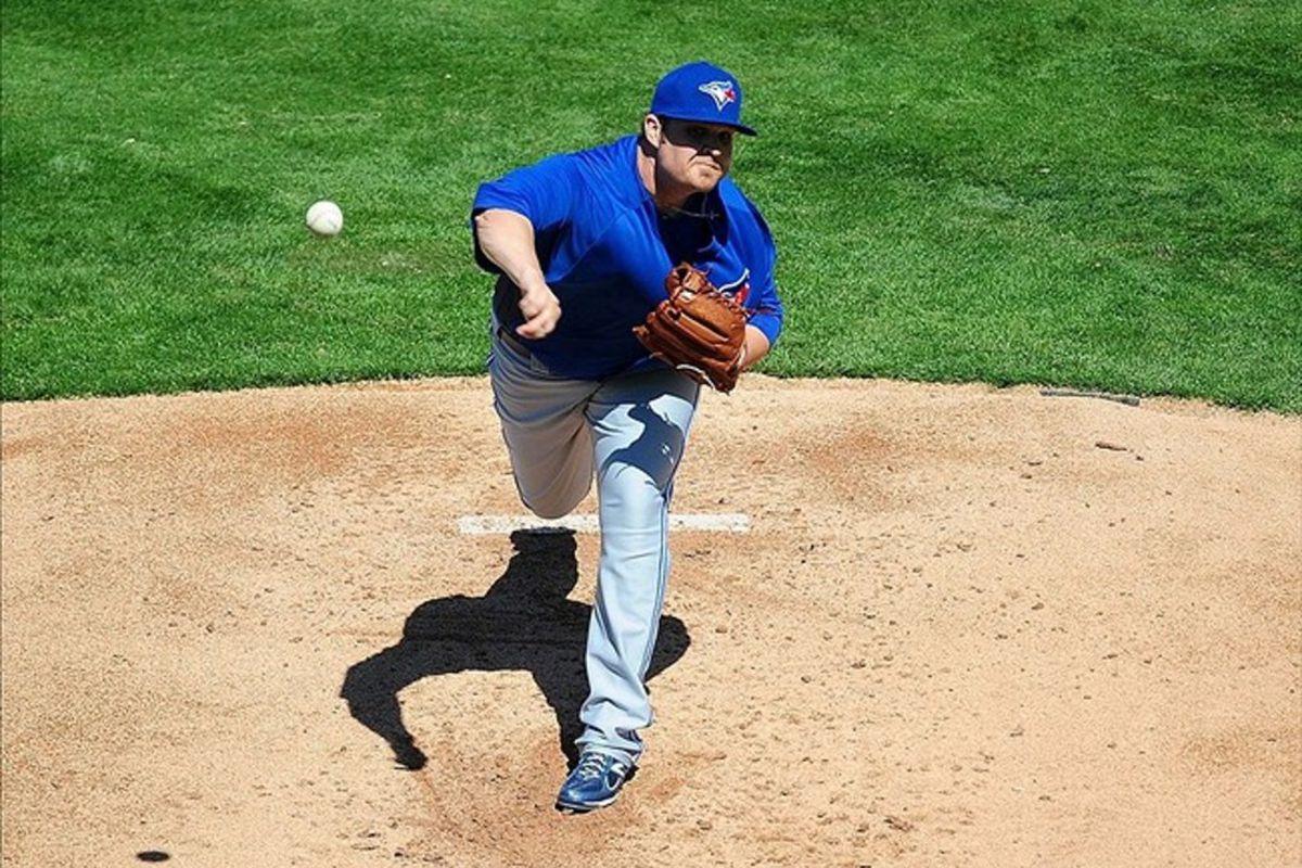 Mar. 5, 2012; Lakeland, FL, USA; Toronto Blue Jays pitcher Drew Carpenter (50) pitches against the Detroit Tigers at Joker Marchant Stadium. Mandatory Credit: Andrew Weber-US PRESSWIRE