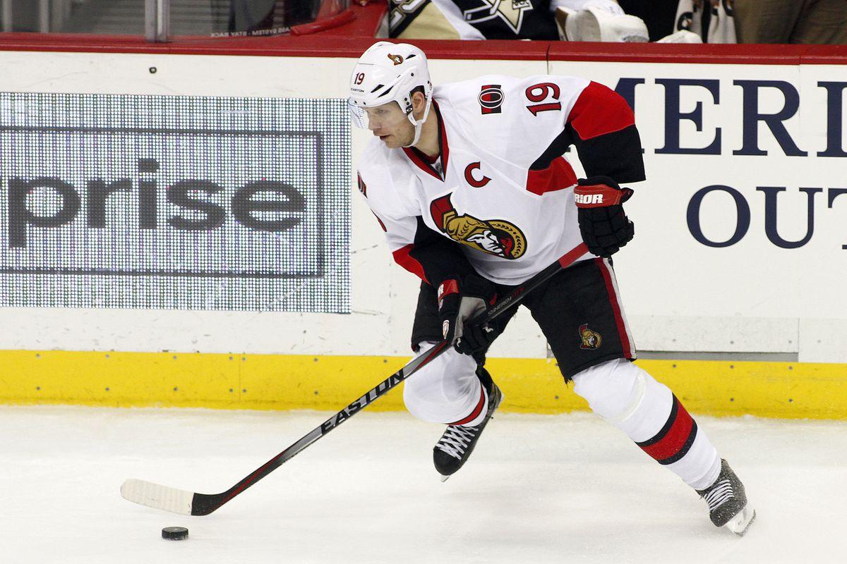 Jason Spezza head fakes past a good return for the Senators
