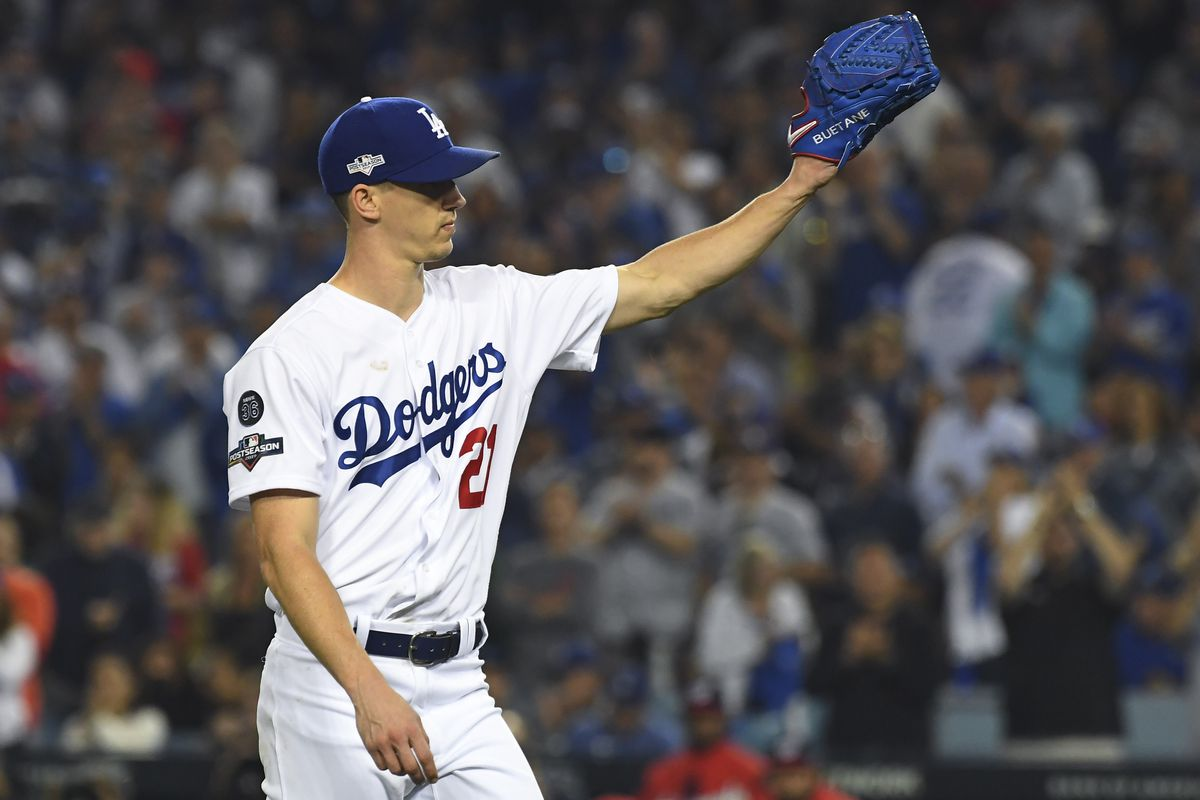 Los Angeles Dodgers starting pitcher Walker Buehler leaves the field during the seventh inning in game five of the 2019 NLDS playoff baseball series against the Washington Nationals at Dodger Stadium.