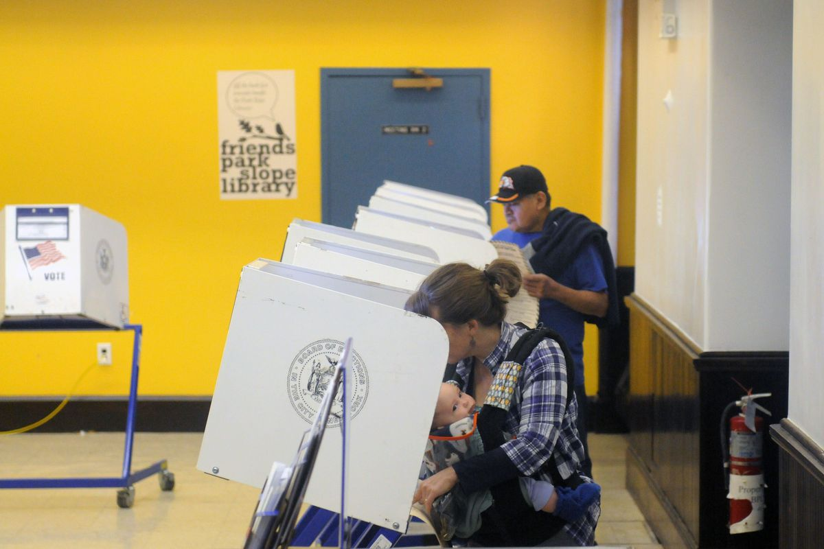 People vote at a Park Slope polling place.