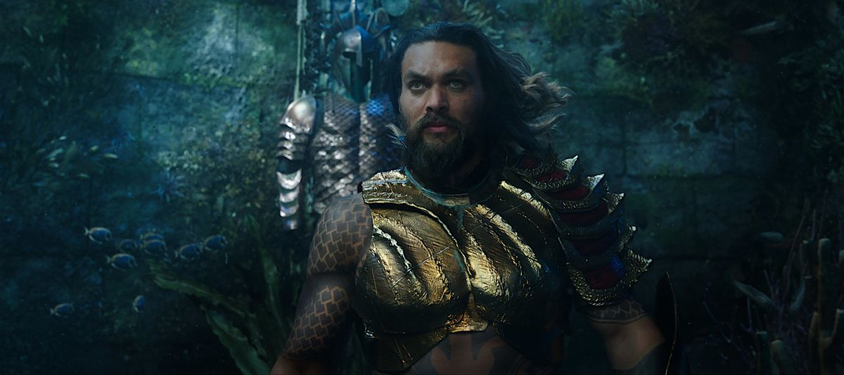 Jason Momoa in the live-action Aquaman, underwater and in armor