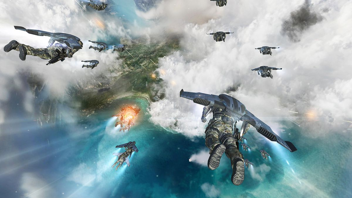 Call of Duty: Black Ops 2 - soldiers flying wingsuits