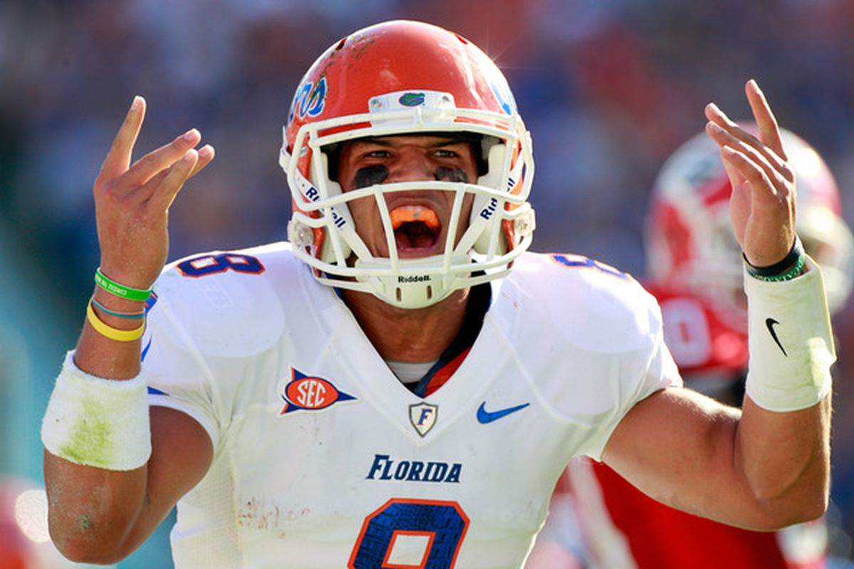 JACKSONVILLE FL - OCTOBER 30:  Trey Burton #8 of the Florida Gators celebrates following a touchdown during the game against the Georgia Bulldogs at EverBank Field on October 30 2010 in Jacksonville Florida.  (Photo by Sam Greenwood/Getty Images)