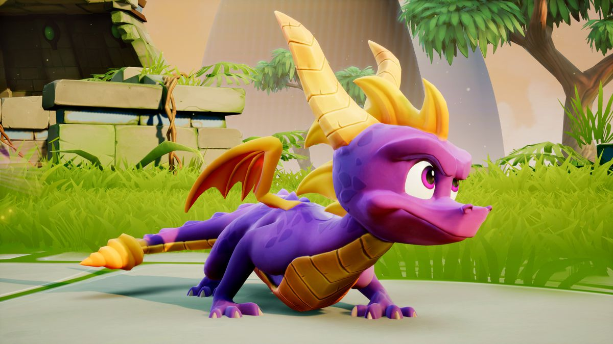Spyro the Dragon hunkers down in a screenshot of Spyro Reignited Trilogy