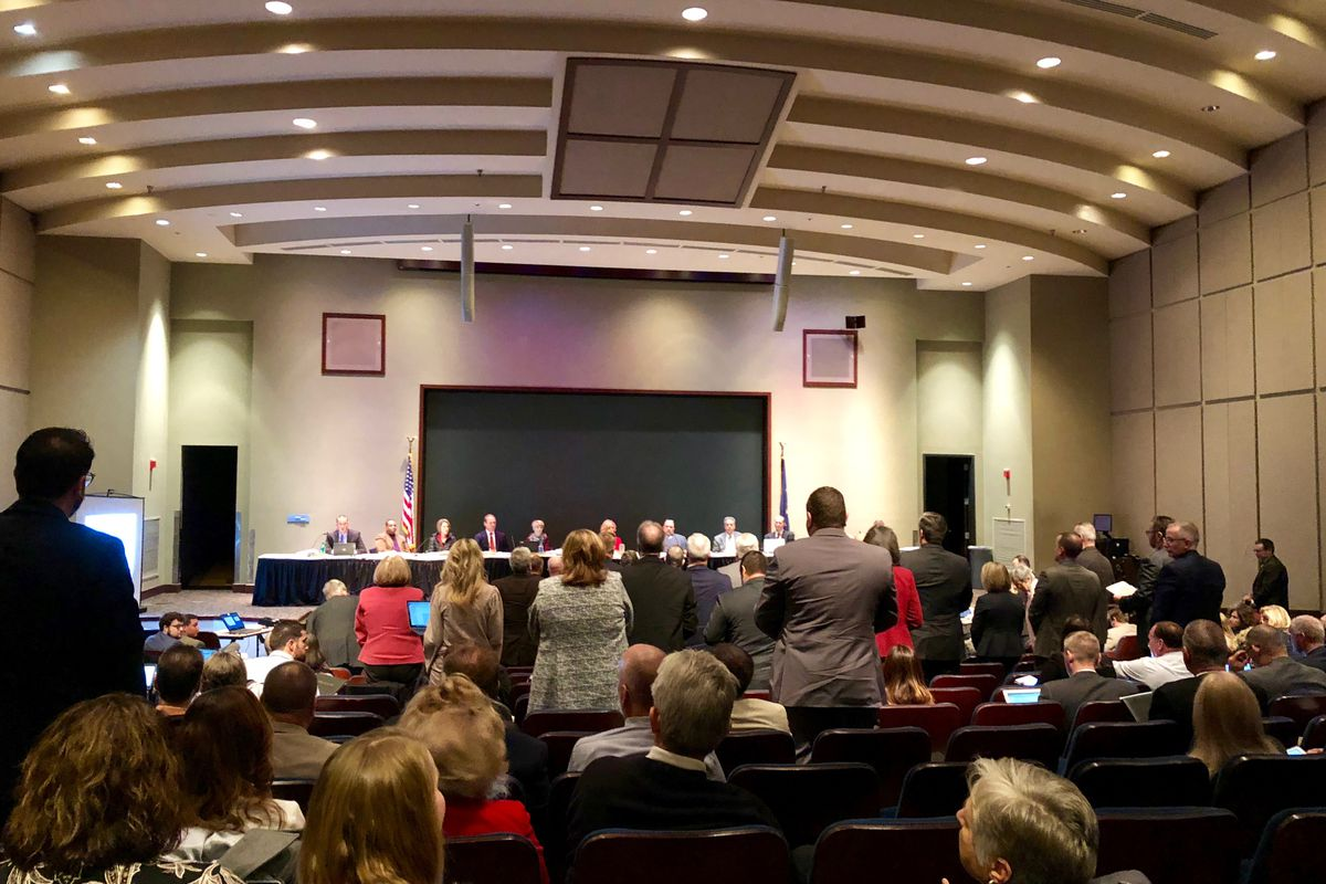 When asked if they opposed the graduation pathways plan, many superintendents at Wednesday's state board meeting stood.