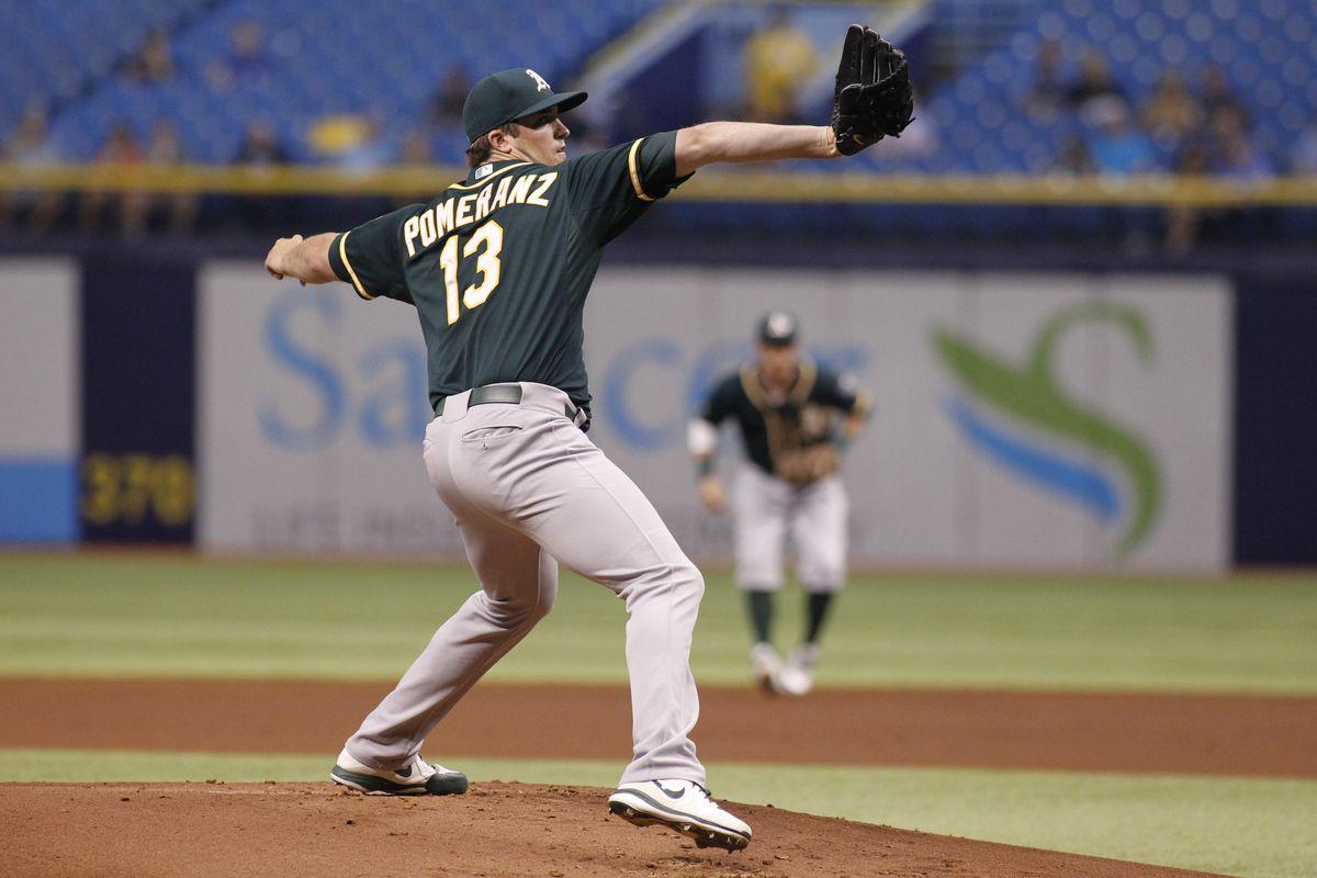 Drew Pomeranz starts for the Athletics on August 27.