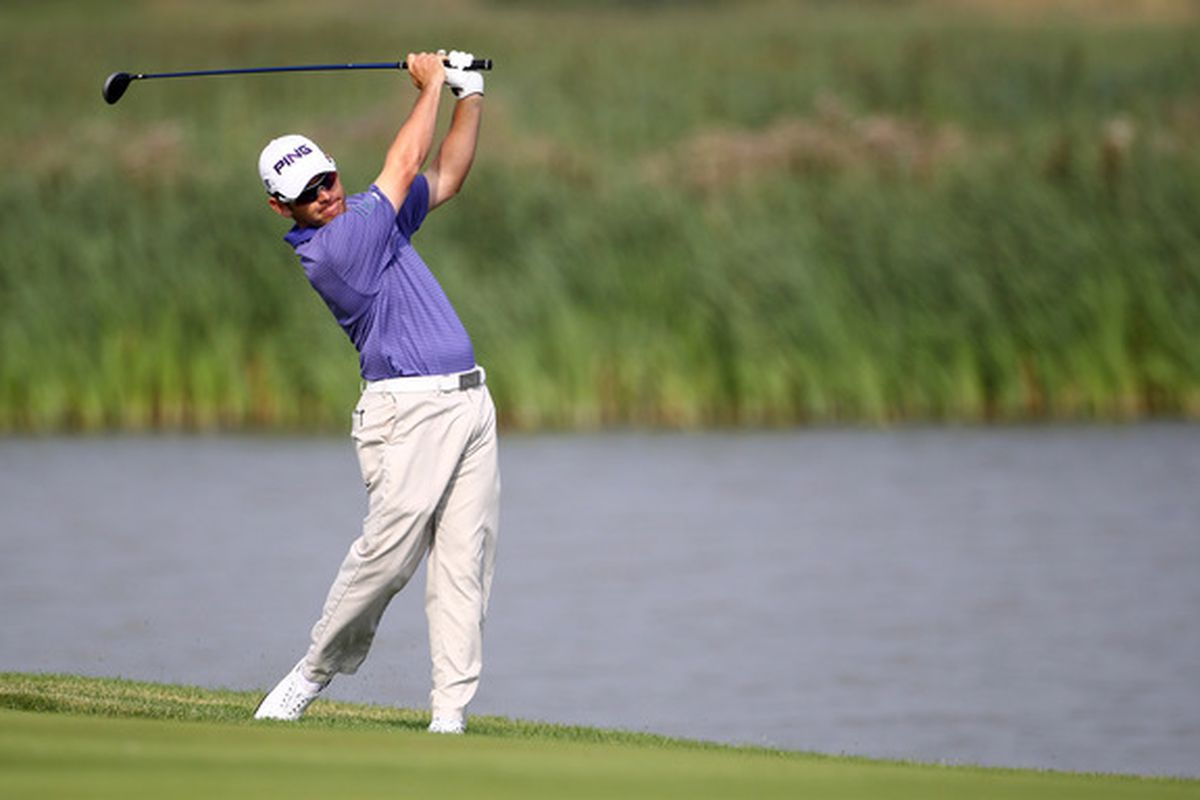 STOCKHOLM SWEDEN - JULY 22:  Louis Oosthuizen of South Africa in action during round one for the Nordea Scandinavian Masters at Bro Hof Slott Golf Course on July 22 2010 in Stockholm Sweden.  (Photo by Julian Finney/Getty Images)