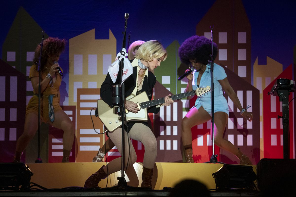 St. Vincent performs at the Green Stage at Pitchfork Music Festival at Union Park, Saturday, Sept. 11, 2021.