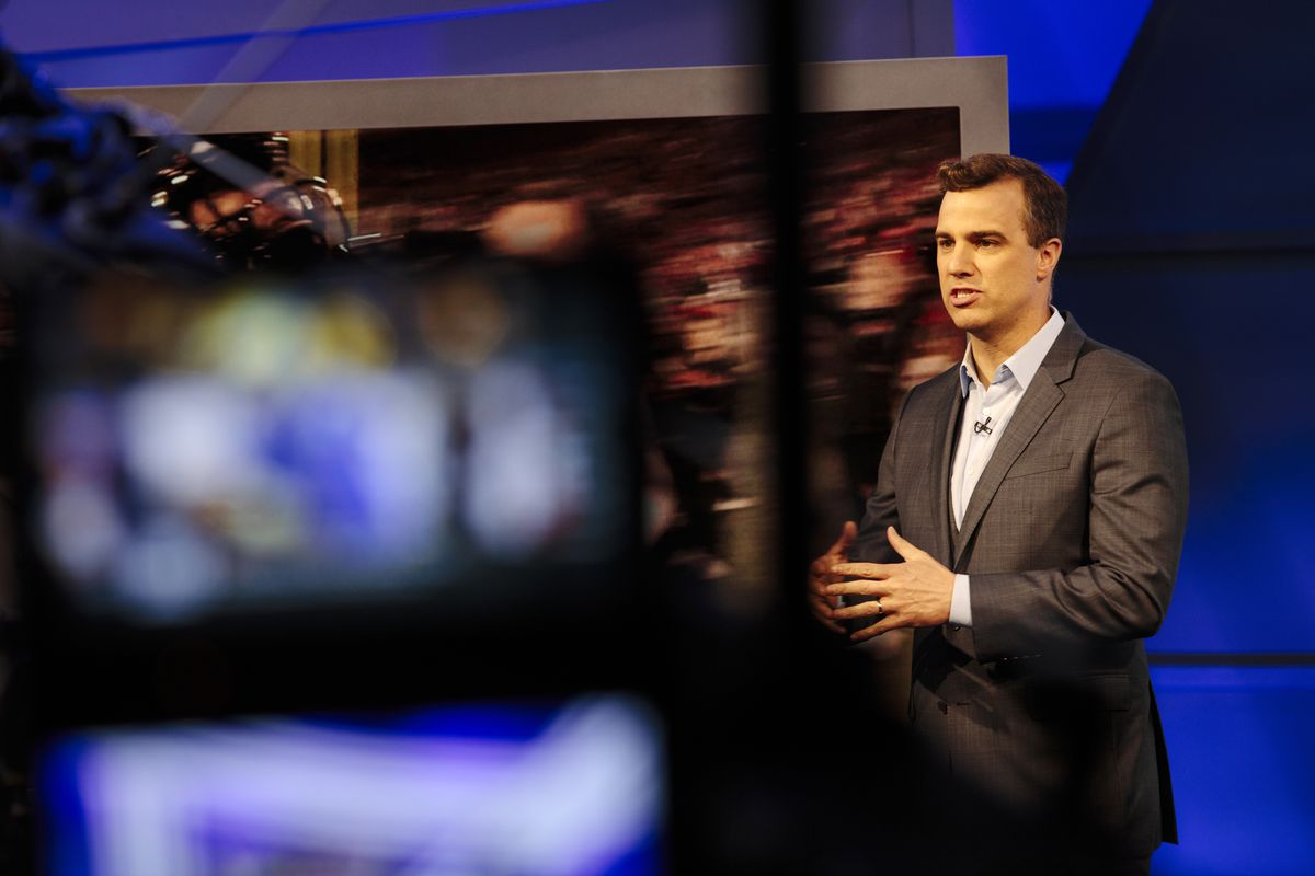 """NFL Network analyst Daniel Jeremiah on the set of """"Path to the Draft"""" at the NFL Network studio in Culver City, California on March 27, 2018."""