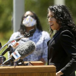Nicole Salazar-Hall speaks during a press conference to announce the Salt Lake City Commission on Racial Equity in Policing at the International Peace Gardens in Salt Lake City on Thursday, June 25, 2020. Salazar-Hall will serve on the commission.