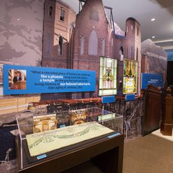 A small museum of artifacts from the original tabernacle is set up for viewing at the Provo City Temple, Monday, Jan. 11, 2016.