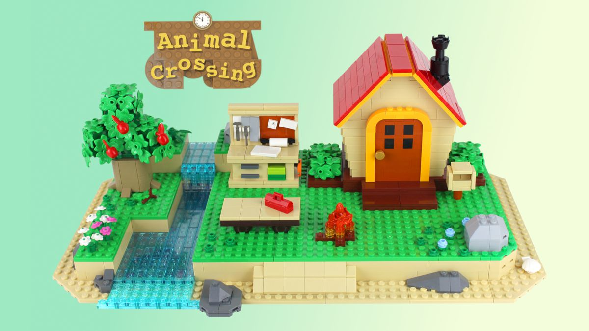 Image of an Animal Crossing lego set, including a house, beach, workbench, and river.