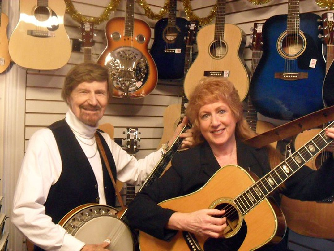<small><strong>Bob Gand, owner of the Village Music Store in Deerfield, died Dec. 31. He is shown in 2013 with his first employee, Lana Rae, celebrating the 50th anniversary of the  business. | Photo provided</strong></small>