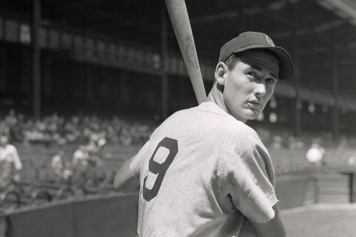 Boston Redsox Outfielder Ted Williams Holding Bat
