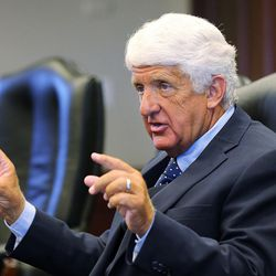 Rep. Rob Bishop, R-Utah, meets with the DMC Editorial Board in Salt Lake City, Thursday, Aug. 13, 2015.