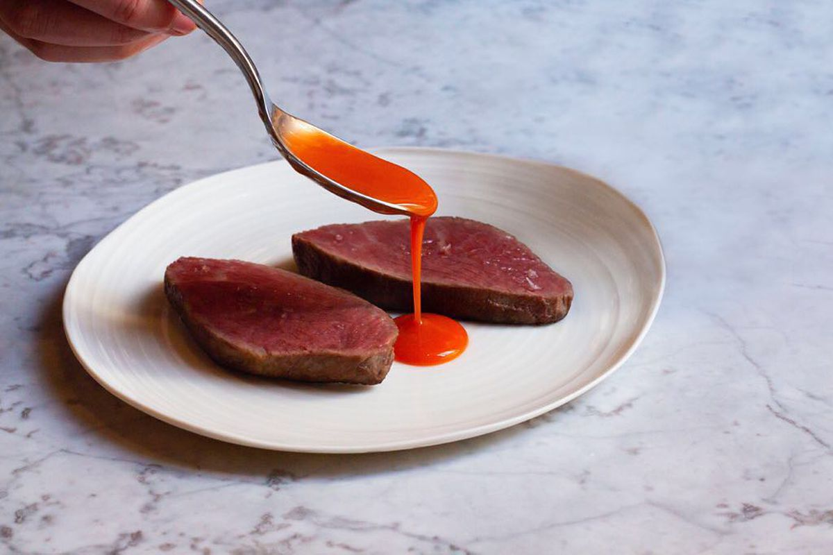 Iberico presa and salted carrot at London restaurant Gazelle, Mayfair, by Tony Conigliaro and Rob Roy Cameron