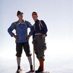 Bob Irvine, right, and Roland Wyatt, a Salt Lake native who is now deceased, stand atop the north edge on the west face of Lone Peak in south Salt Lake County. The year was 1958, and the now-popular peak was relatively untested.
