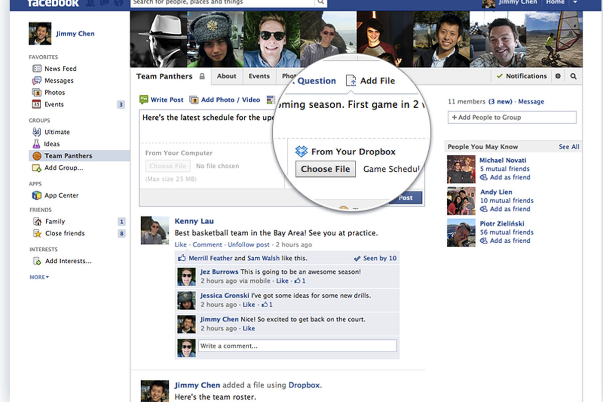 Dropbox Add File Facebook