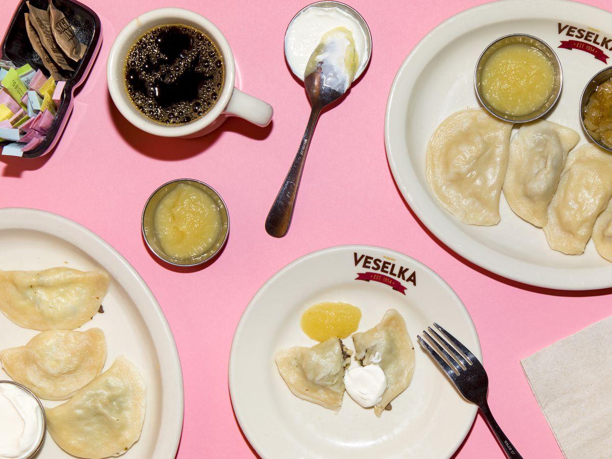 Veselka's boiled pierogies