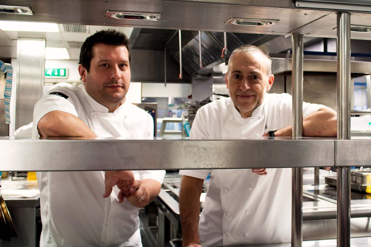 Steve Groves and Michel Roux Jr —chefs at Roux at Parliament Square