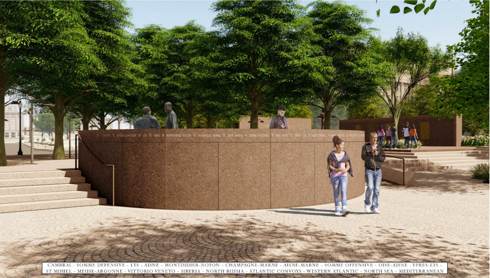 A rendering of a semi-circular, elevated enclosure in the midst of a park.