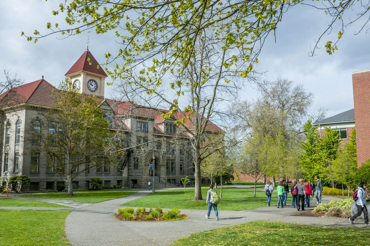 The Memorial Building (administration) of Whitman College, a private liberal arts college in Walla Walla, Walla Walla County in the Palouse, Eastern Washington State, USA.