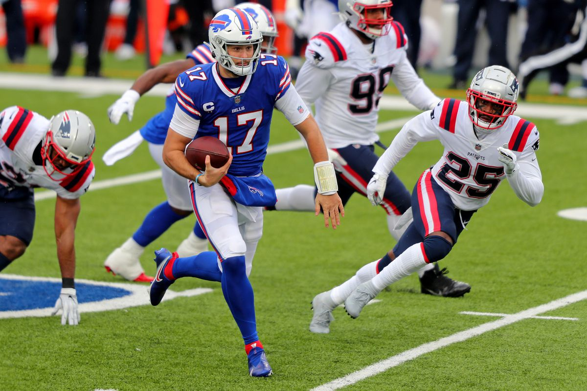 Josh Allen #17 of the Buffalo Bills rushes during a game against the New England Patriots at Bills Stadium on November 01, 2020 in Orchard Park, New York.