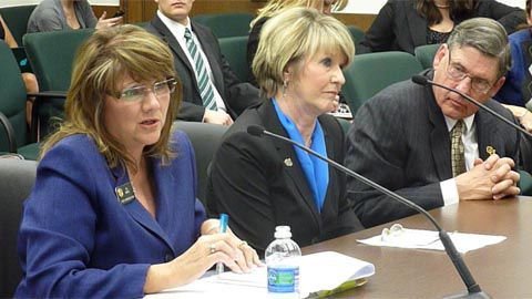 A higher ed financial disclose bill sponsored by Rep. BJ Nikkel (left) was supported Feb. 27 by CU regents Sue Sharkey and Jim Geddes.