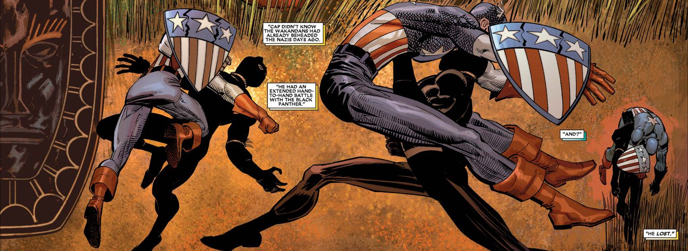 Captain America fights the Black Panther Azzuri, grandfather of the modern Black Panther, T'Challa, in Black Panther #1, Marvel Comics, 2005.