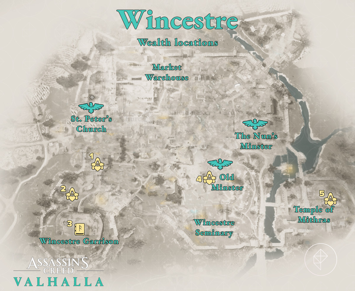 Wincestre Wealth locations map