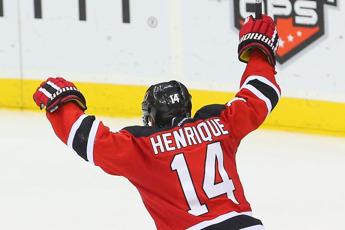 Will Adam Henrique raise his arms in the glorious triumph of scoring against the Rangers? Maybe, he has a experience at it, though.