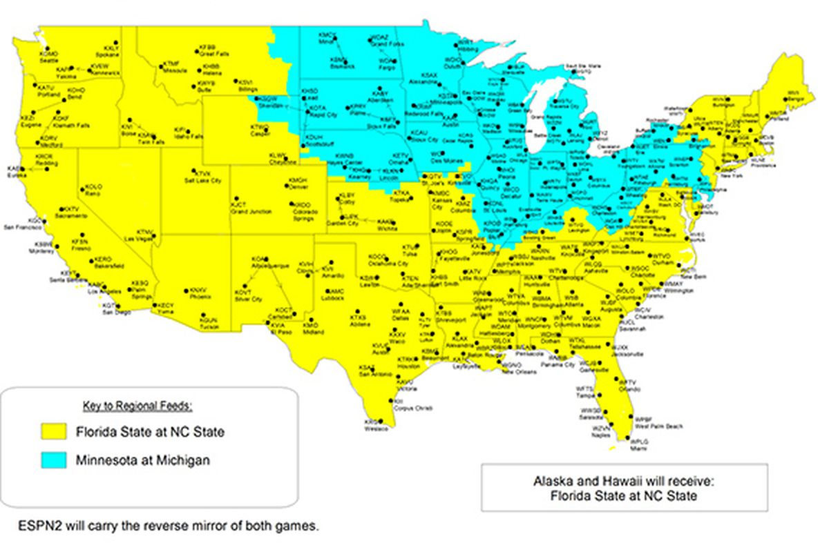 Minnesota at Michigan: TV Map ESPN College Football - The Daily Gopher