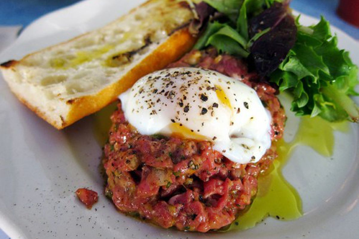 """Beef tartare from M. Wells by <a href=""""http://www.flickr.com/photos/foodforfel/5536200042/in/pool-eater/"""">foodforfel</a>.<br />"""