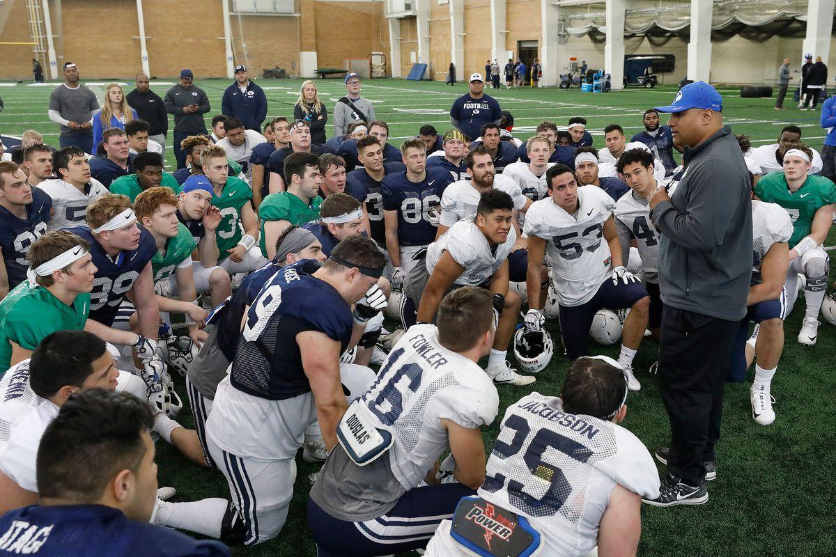 Head coach Kalani Sitake and the BYU Football Team hold practice in the Indoor Practice Facility in Provo, Utah Thursday, March 15, 2018 during spring practice.