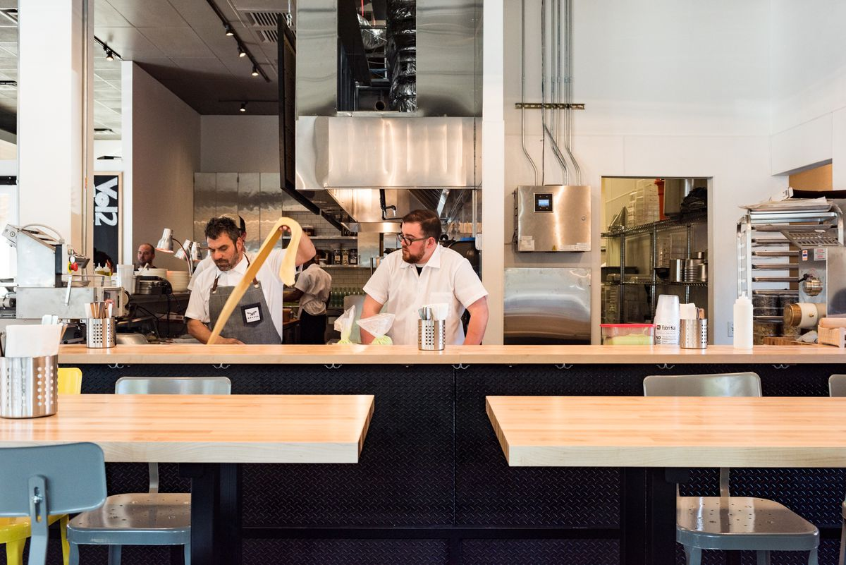 Inside the kitchen at Portland's Grassa.