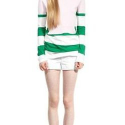 """<a href=""""http://www.marcjacobs.com/marc-jacobs/womens/ss12-and-re12-ready-to-wear/k51110821/colorblocked-knit-crew-sweater"""">Colorblocked Knit Crew Sweater</a>, $597 (was $995)"""