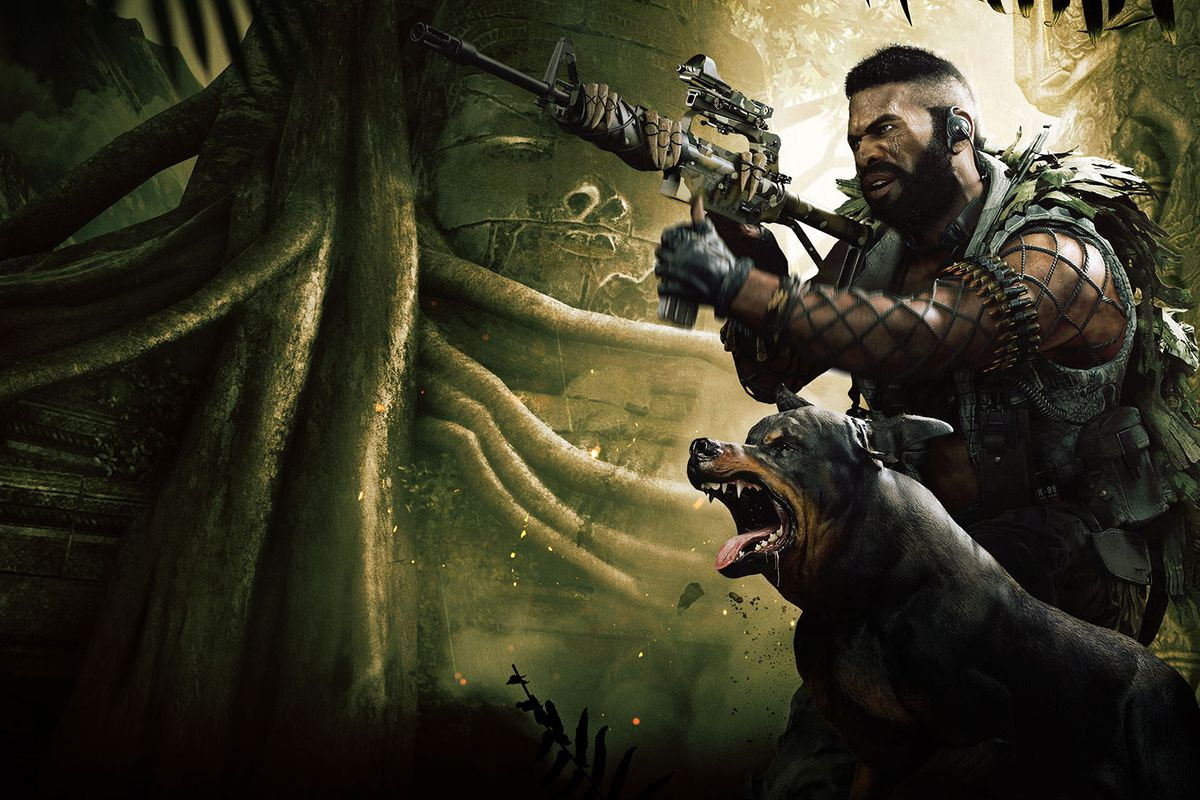 Call of Duty: Warzone art of an Operator aiming at an enemy, while a dog barks next to him