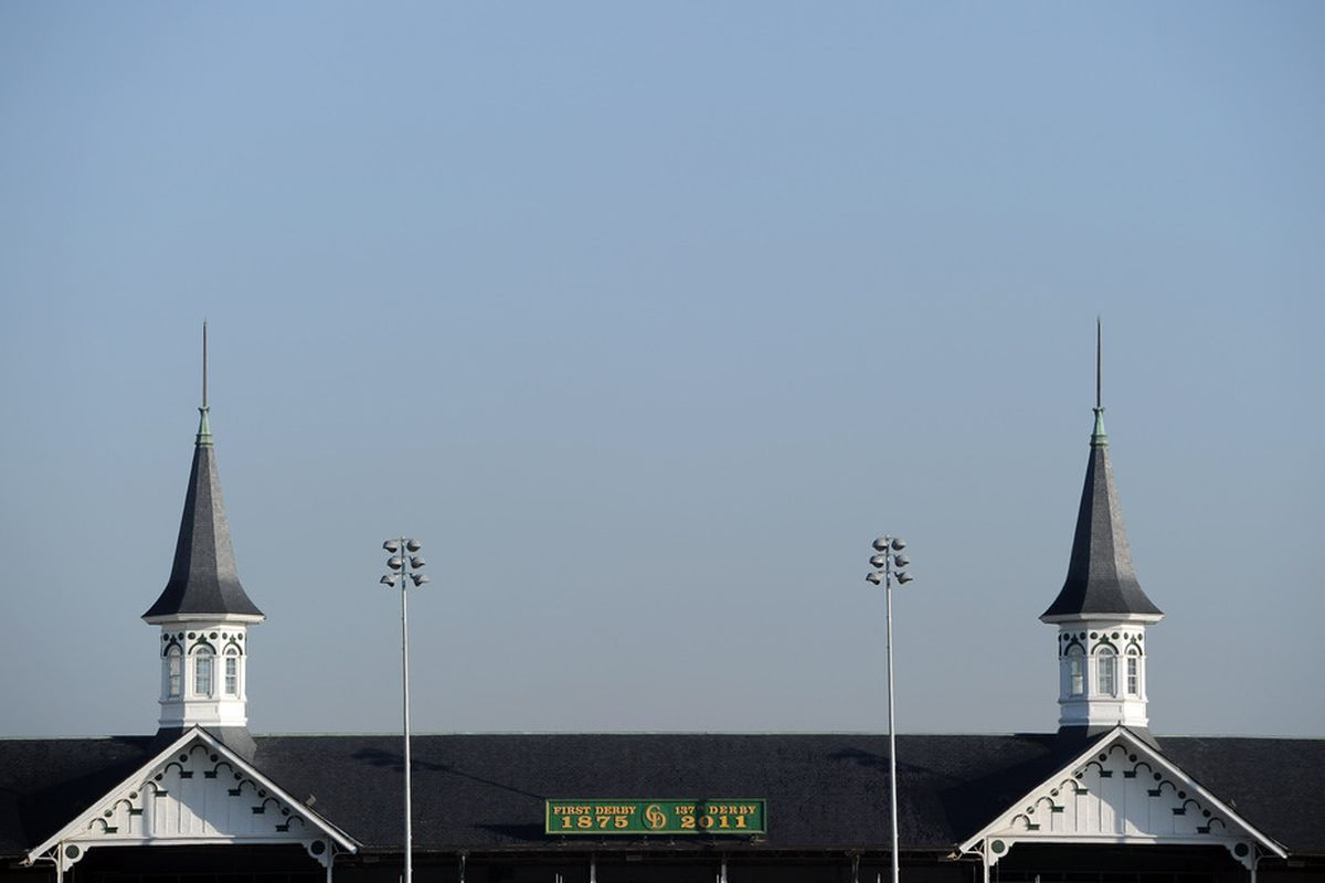 LOUISVILLE, KY - MAY 05:  View of Spires of Churchhill Downs before the 137th Kentucky Derby at Churchill Downs on May 5, 2011 in Louisville, Kentucky.  (Photo by Harry How/Getty Images)