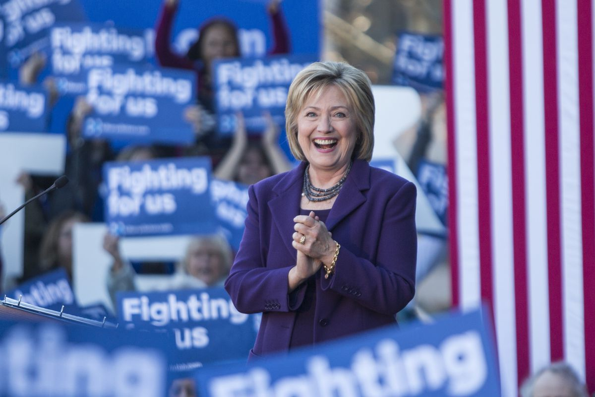 Clinton at a rally in New Hampshire on Monday.