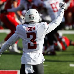 Washington State Cougars defensive back Daniel Isom (3) celebrates as the team forces a fumble during an NCAA football game at Rice-Eccles Stadium in Salt Lake City on Saturday, Dec. 19, 2020.