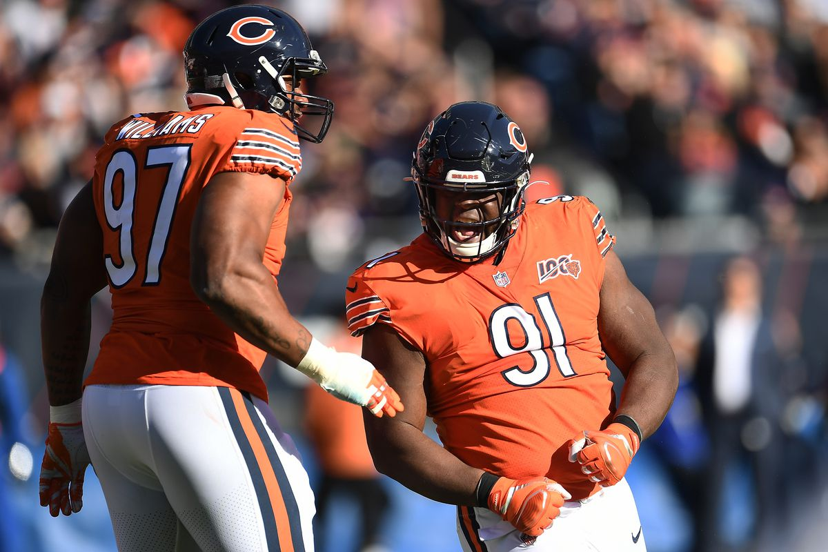 Bears nose tackle Eddie Goldman celebrates a sack against the Chargers.