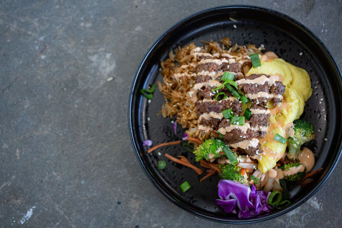 Vegan hibachi beef over fried rice