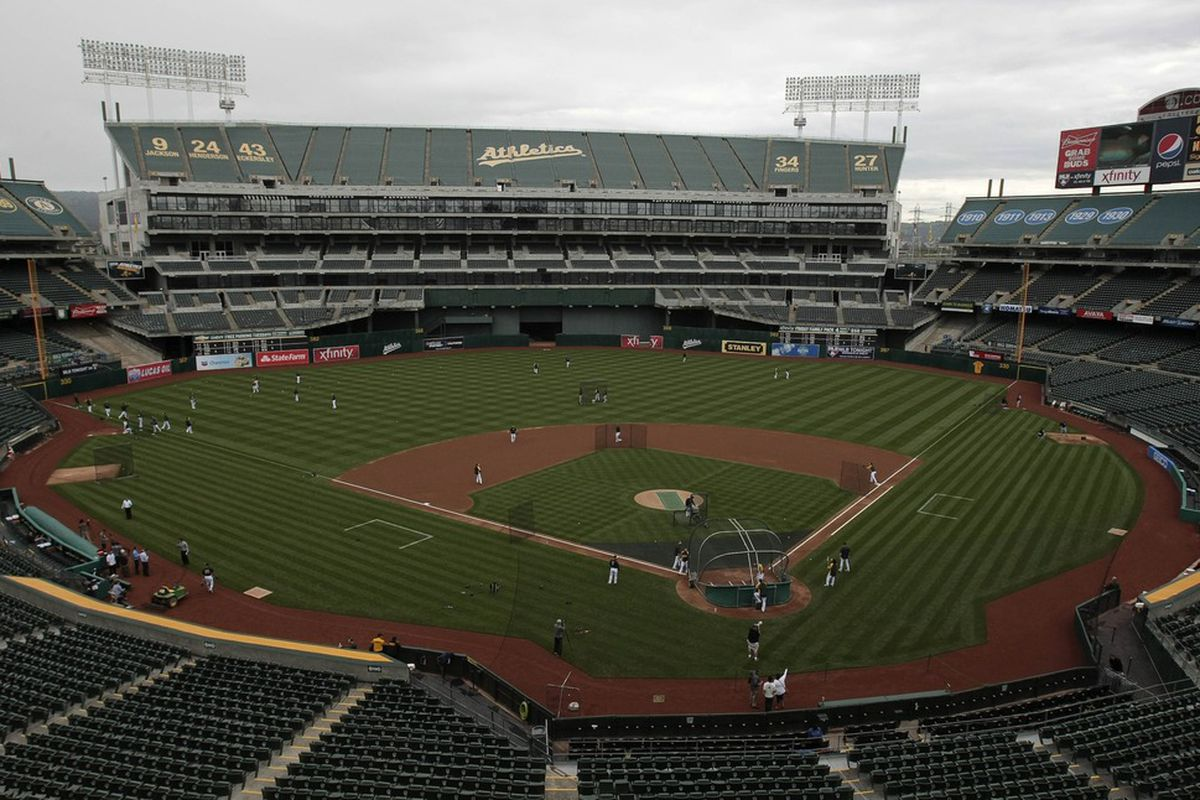 April 25, 2012; Oakland, CA, USA; General view of O.co Coliseum during the game between the Oakland Athletics and the Chicago White Sox. Mandatory Credit: Kelley L Cox-US PRESSWIRE