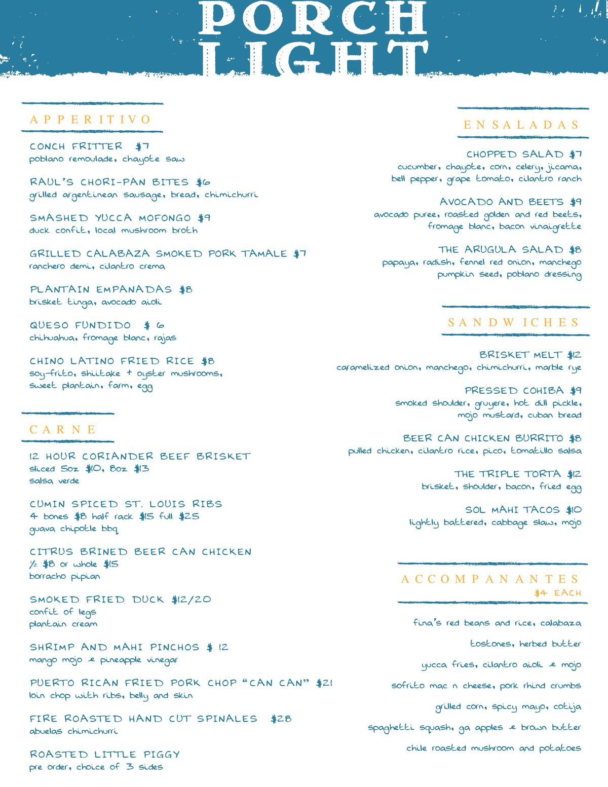Porch Light Kitchen menu