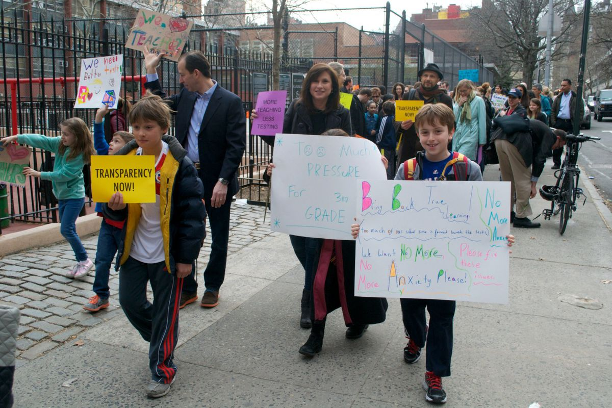 """In April, students, parents, and teachers marched outside P.S. 87 shouting """"Show us the test."""""""