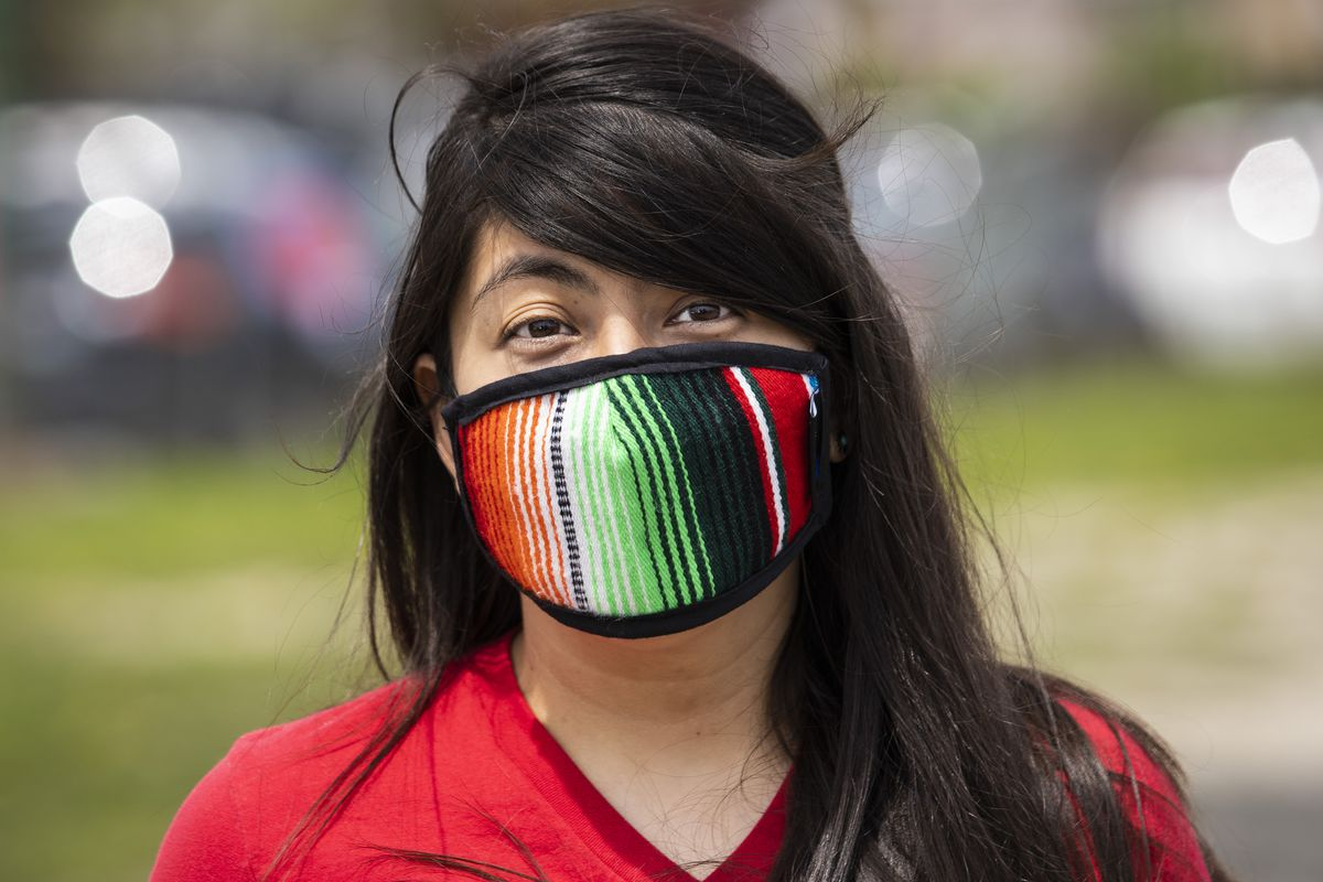This woman remembered to wear her face mask, which was one of the issues Sun-Times readers cited as the hardest thing about masks.