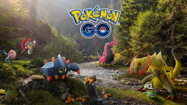 Several Pokémon like Axew and Boldore play around a stream
