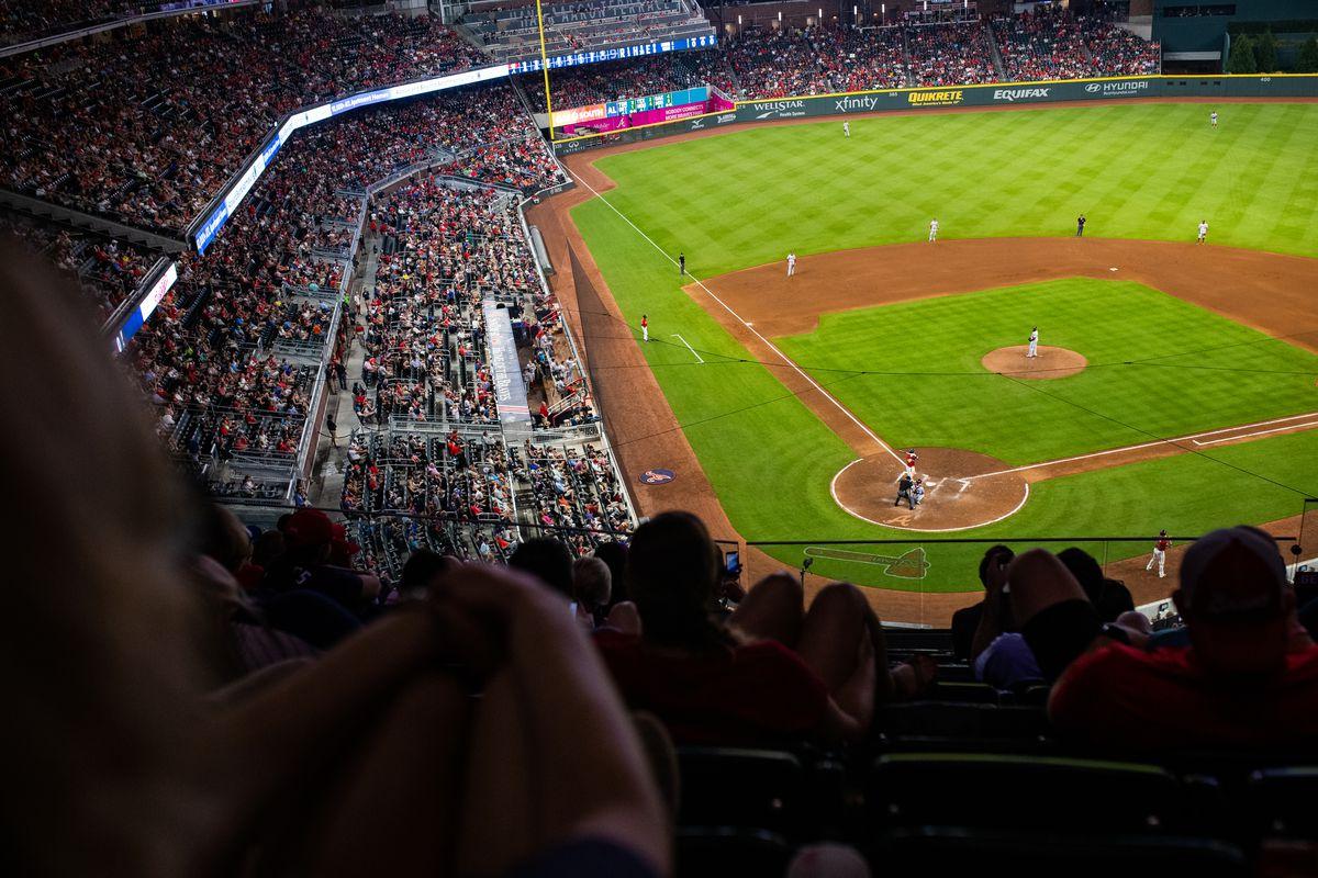 General view of play during the Washington Nationals vs Atlanta Braves game at SunTrust Park on July 19, 2019 in Atlanta, Georgia.